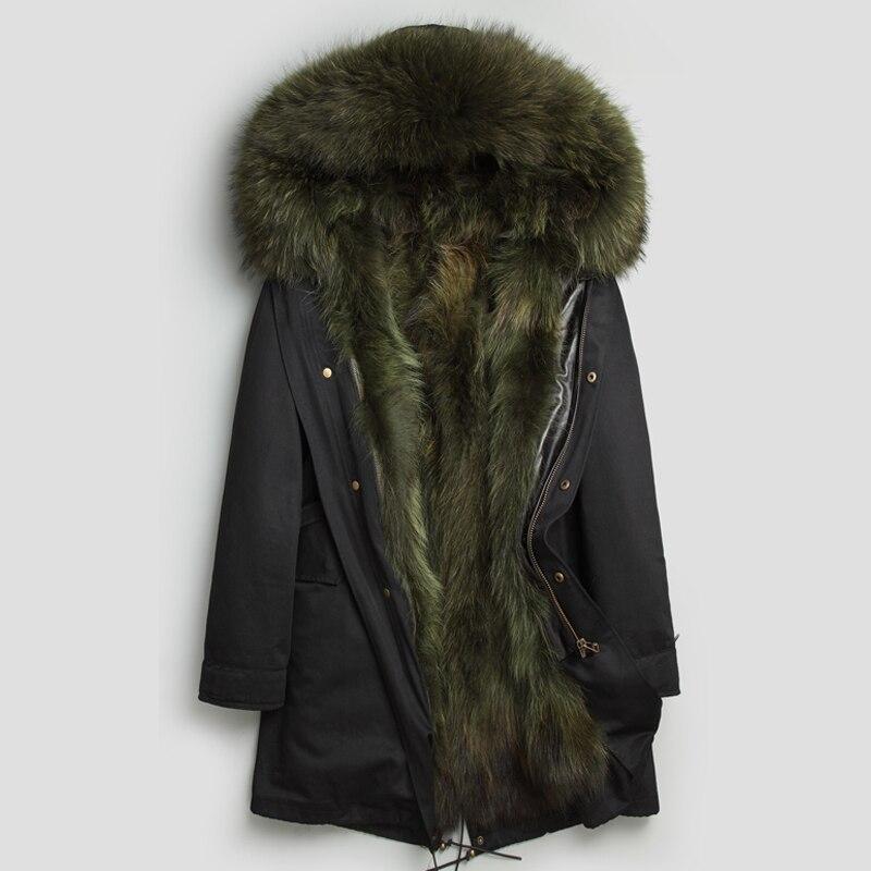 Real Raccoon Fur Hooded Parka Long Raccoon Fur Collar 2018 New Winter Warm Coat Thick Real Fur Parkas Men Natural Fur Jacket