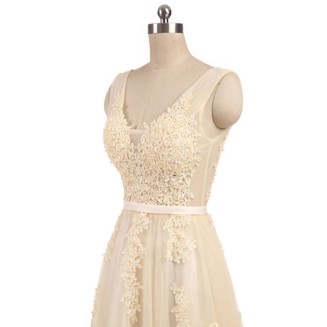 New arrival elegant champagne  wedding dress Vestido de Festa appliques zipper A-line dress sweep train bow dress lace style 5