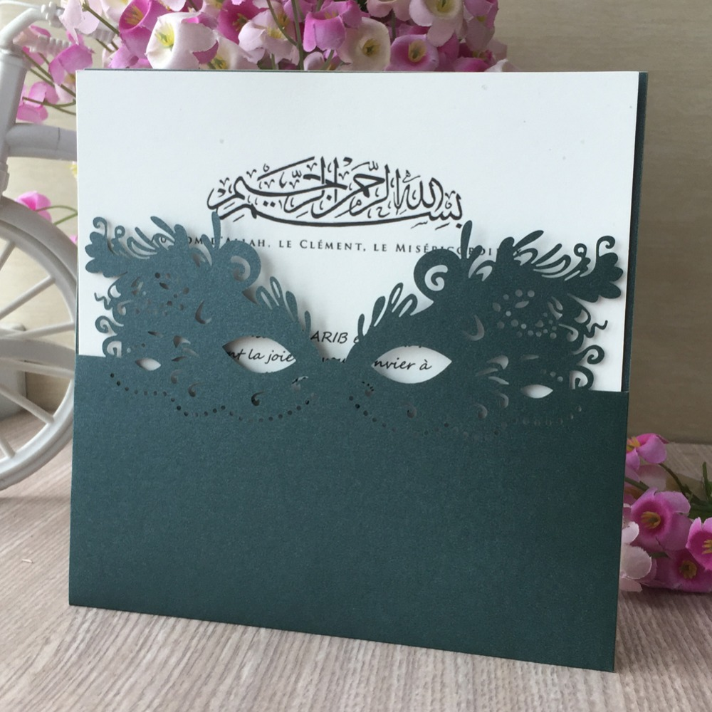 Us 35 0 30pcs Lot Laser Cut Custom Feathered Mask Wedding Invitations Card Evening Party Invitation Marriage Blessing Card In Cards Invitations
