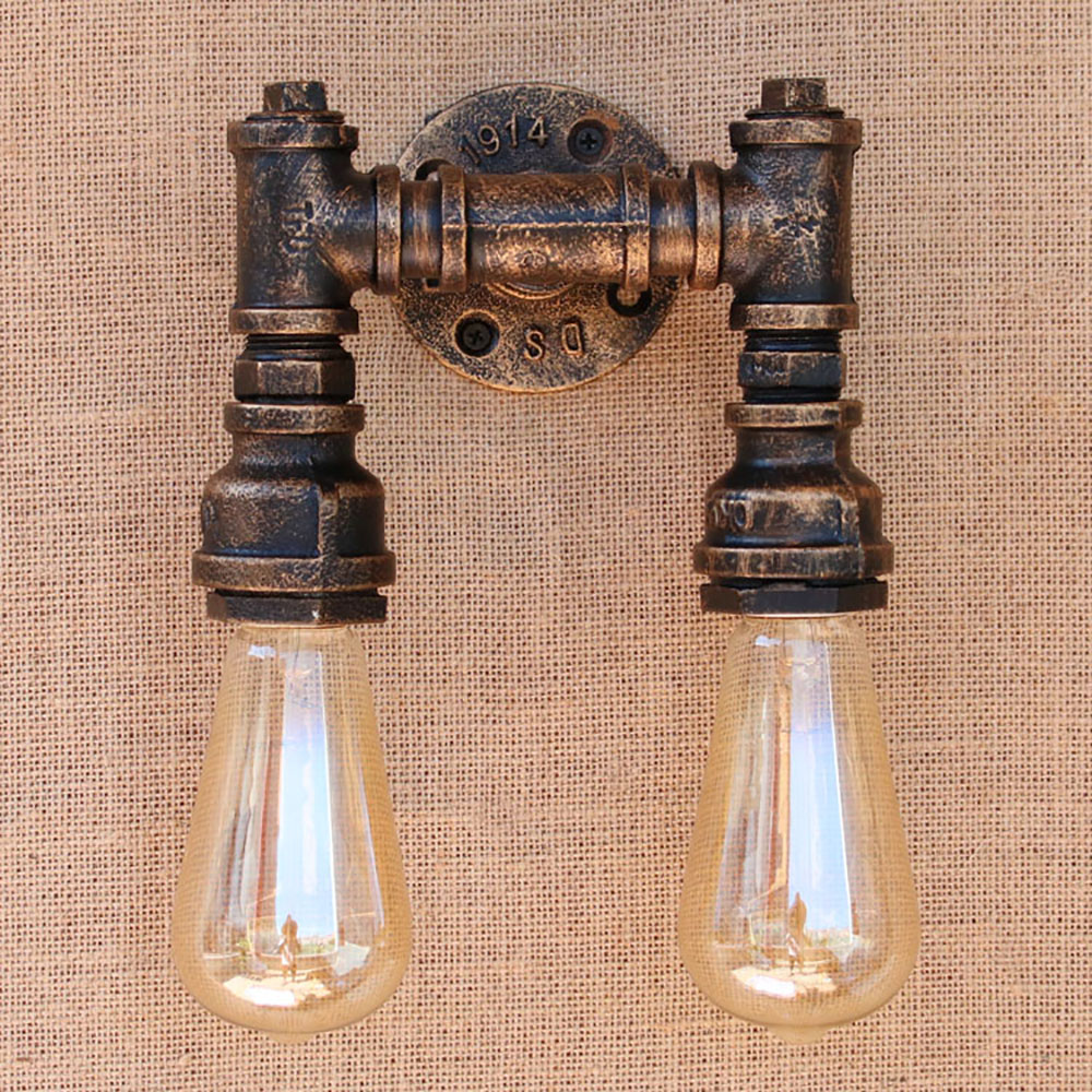 New design 2 lights iron Water pipe vintage wall lamp/Steampunk Pipe Wall Light 2 Lamps for hallway bedroom living room bar cafe steampunk loft 4 color iron water pipe retro wall lamp vintage e27 e26 sconce lights for living room bedroom restaurant bar