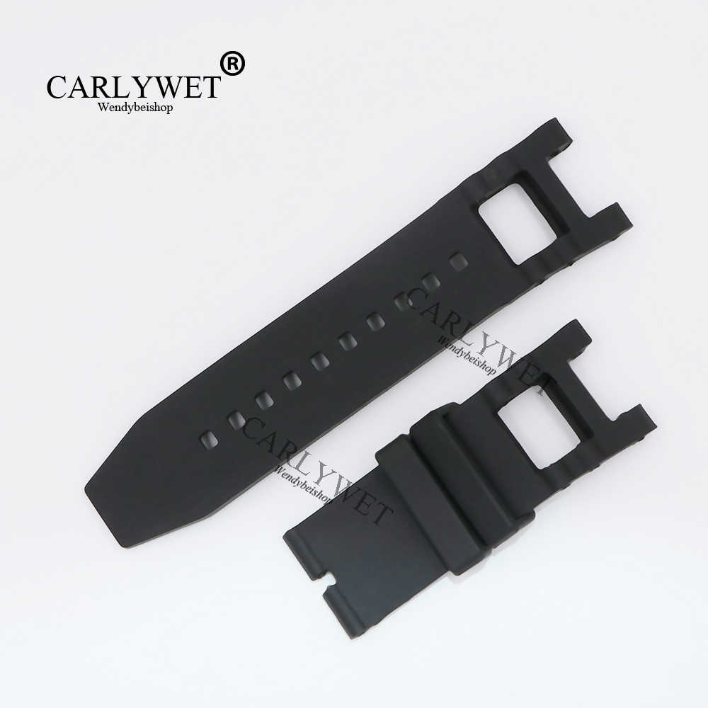 CARLYWET 28mm Black Strap Waterproof Rubber Replacement Watch Band Belt Special Popular For Invicta 6043 style