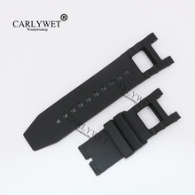 CARLYWET 28mm Black Strap Waterproof Rubber Replacement Watch Band Belt Special Popular For Invicta 6043 style(China)