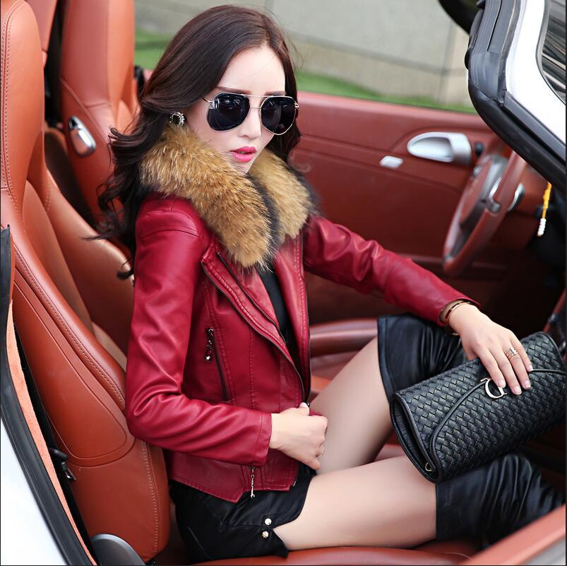 2017 New Real Fur collar font b Women b font Leather font b Jacket b font