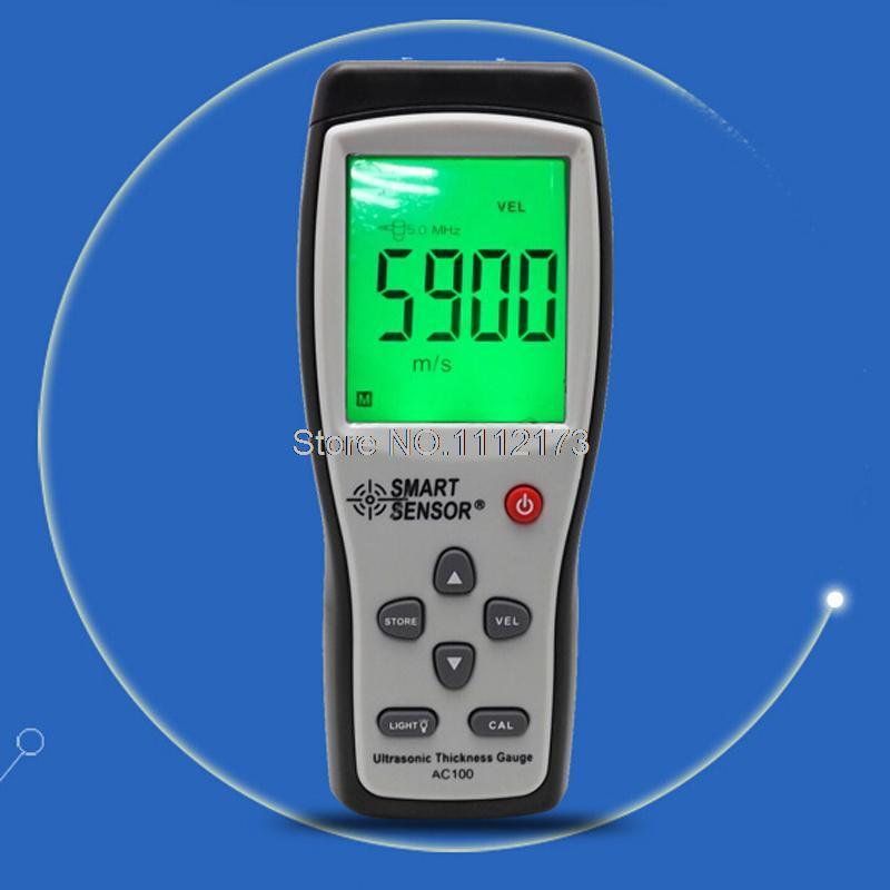 Smart Sensor AC100 LCD Digital Ultrasonic Thickness Gauge tester 1.2 to 220MM Sound Velocity Meter For Steel Aluminium Plate exploit high precision 0 01mm profession digital lcd display thickness gauge meter paper leather fabric thickness tester