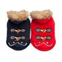 Warme Haustierhundekleidung Winter Baumwolle Gepolsterte Hundemantel Hupenknopf Fell Kapuze Kostüm für Kleine Hunde Chihuahua Yorkshire Terrier
