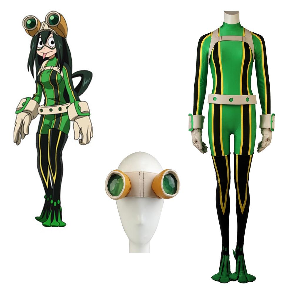 Cosplaydiy Anime Mon Héros Milieu Universitaire Boku pas un Héros Milieu Universitaire Tsuyu Asui Cosplay Costume Avec Lunettes L320