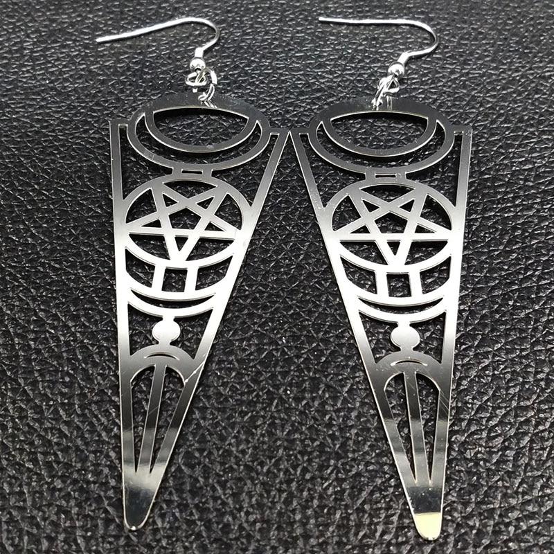 19 Pentagram Stainless Steel Earrings Women Jewelry Geometry Silver Color Earrings Jewelry boucle d'oreille longue E612363 6