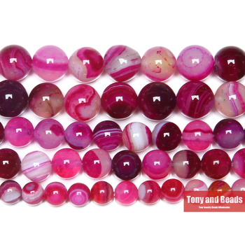Free Shipping Natural Stone Banded Magenta Lace Agates Round Loose Beads 4 6 8 10 12MM Pick Size For Jewelry Making 1