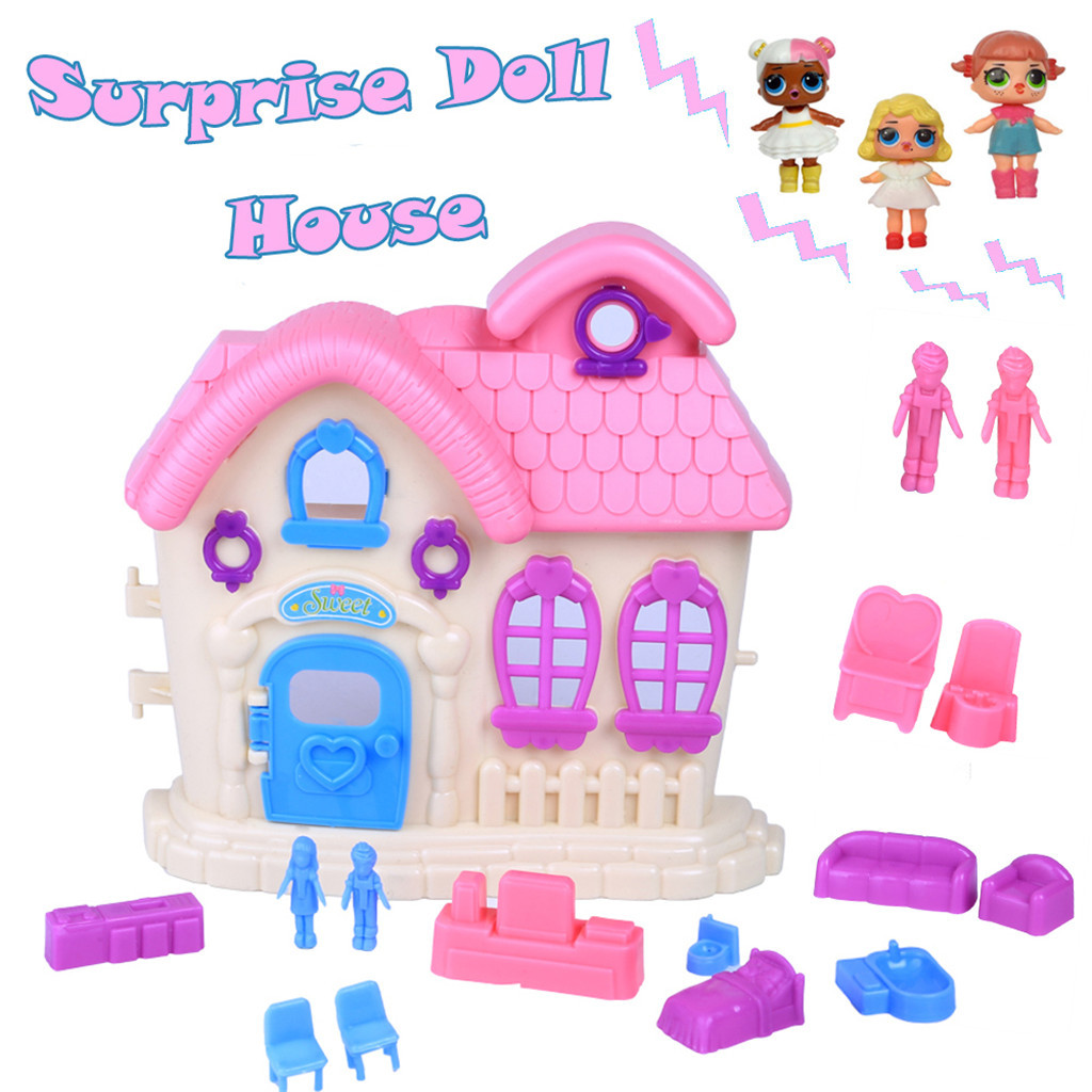 Lovely Pretend Play Princess Doll House Toys Big Family House For Surprise Dolls
