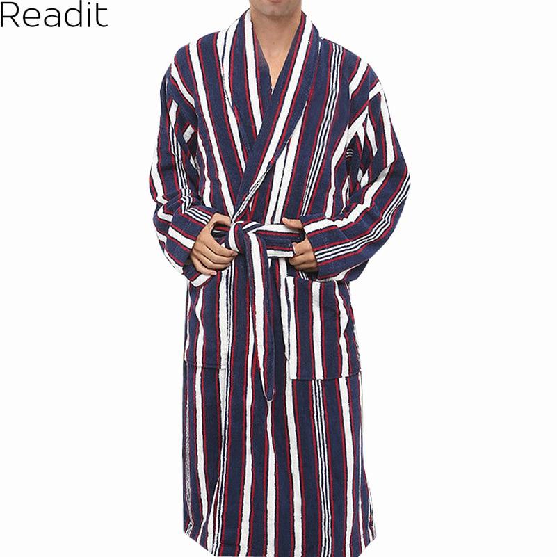 Robes Male 100% Cotton Terry Bathrobes Toweled Pajamas Kimono Men's Bathrobe Mens Sleepwear Long Men Robe 2017 PA1823