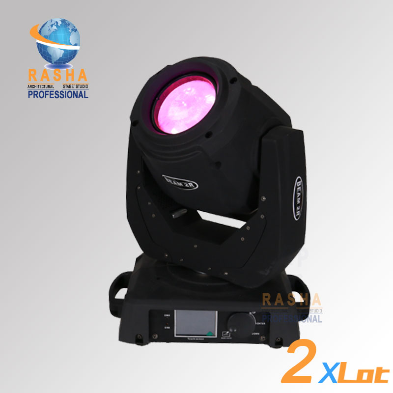 2x Rasha Freeshipping 2R 120W Beam Moving Head Light With 14 Gobos, 3 Layer Lens,Touch Screen LCD Display With Power in and out