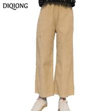 ФОТО diqiong women corduroy ankle-length pants 2017 autumn winter new casual solid elastic high-waist chic pastoral wide leg pants