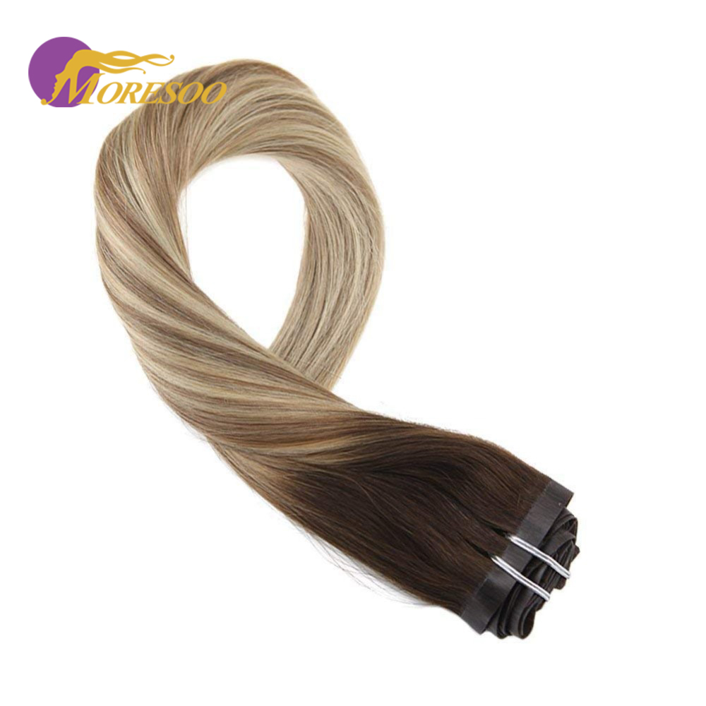 Moresoo Seamless PU Clip Hair Pieces For Women Balayage Ombre Brown Color #3/8/22 16-24 Inch Real Human Hair 7 Pieces 100g