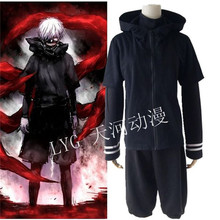 Kaneki Ken Costumes Casual Daily Hoodie Adult 3pcs T-shirt / Coat Japanese Anime Tokyo Ghoul Cosplay Clothes Halloween S-XXL