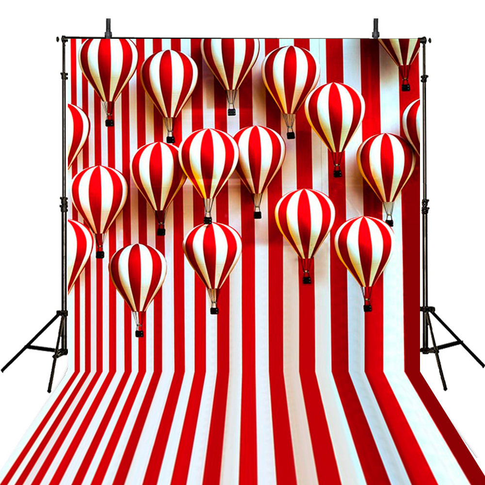 Hot Red White Stripes Photography Backdrops Balloons Backdrop For