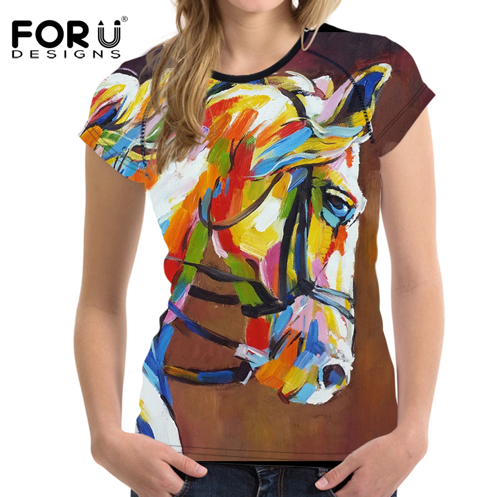 FORUDESIGNS Horse T shirt Women Oil Painting Horses Clothes Girls Summer Female Short Sleeved Ladies T-shirt Tops Feminine Cloth