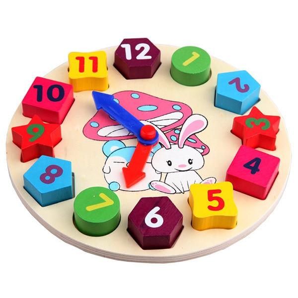 Baby Kids Wooden Toys Digital Geometry Clock Educational Toy ...