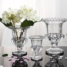 موضة كريستال الديكور زهرية شفافة المائية زهور مجففة الديكور سماكة الزجاج الحرف منزل هدية