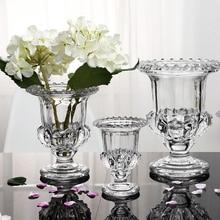 Moda kristal dekorasyon vazo şeffaf hidroponik kurutulmuş çiçek dekorasyon kalınlaşma cam el sanatları ev hediye