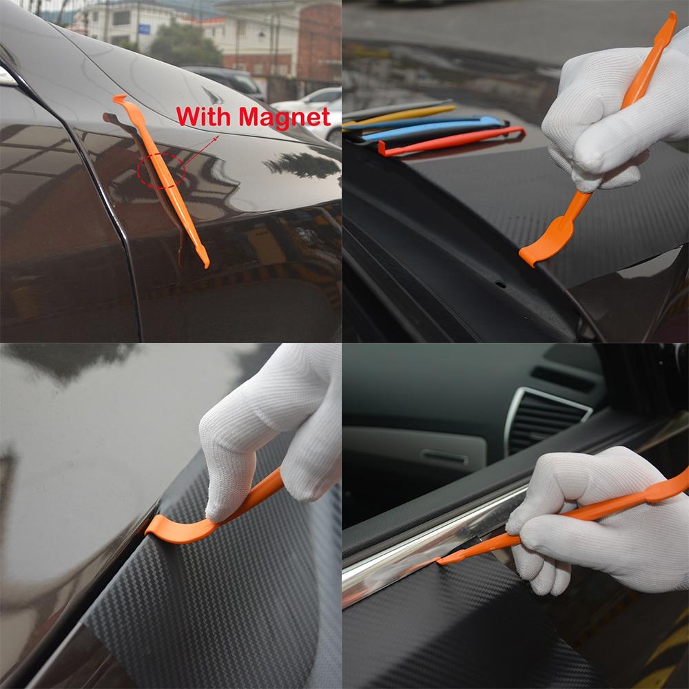FOSHIO 7 шт набор Тонировка автомобиля окно оттенок Магнитная комплект с ракелем винил Обёрточная бумага углерода Фольга клеящеяся пленка для автомобиля магнит для оклейки скребки