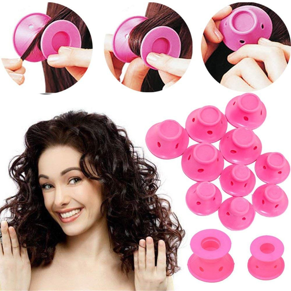 For  G 10pcs/set Soft Rubber Magic Hair Care Rollers Silicone Hair Curler No Heat Hair Styling Tool