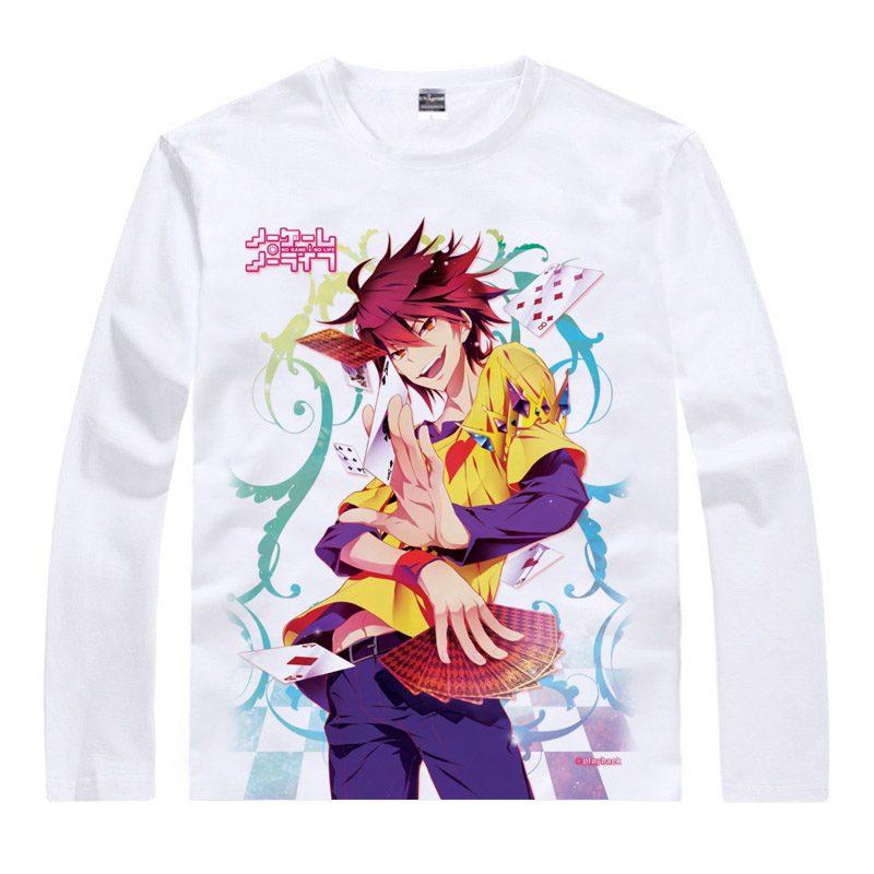 NO GAME NO LIFE Sora Print T-shirts NGNL Shiro Long Sleeve Men Casual Tops Hatsuse Izuna Unisex Spring Autumn Tees