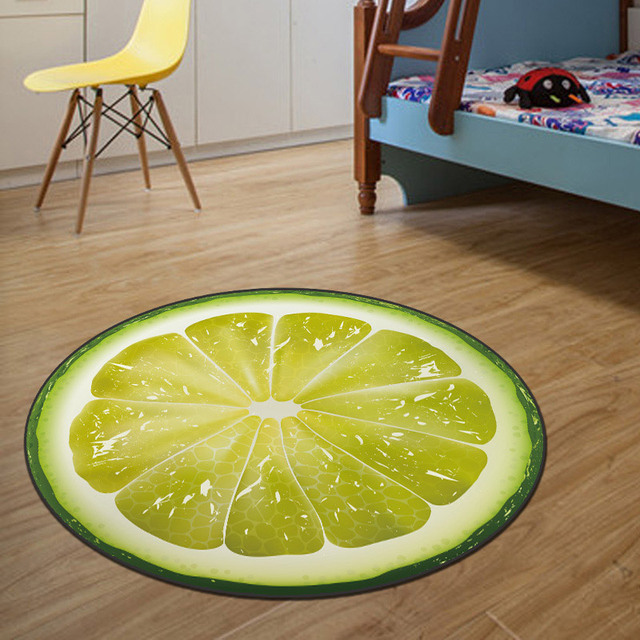 1PC Kids Bedroom Carpet 3D Round Fruit Carpets Circle Rug Children  Livingroom Round Chair Rugs 60