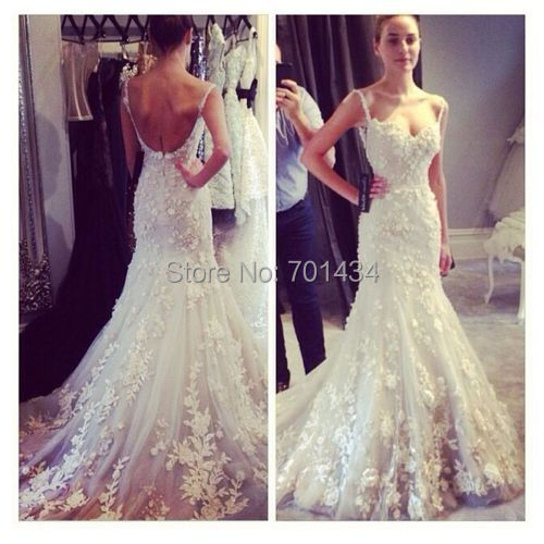 Fashionable spaghetti straps lace wedding dresses mermaid for Lace low back wedding dress