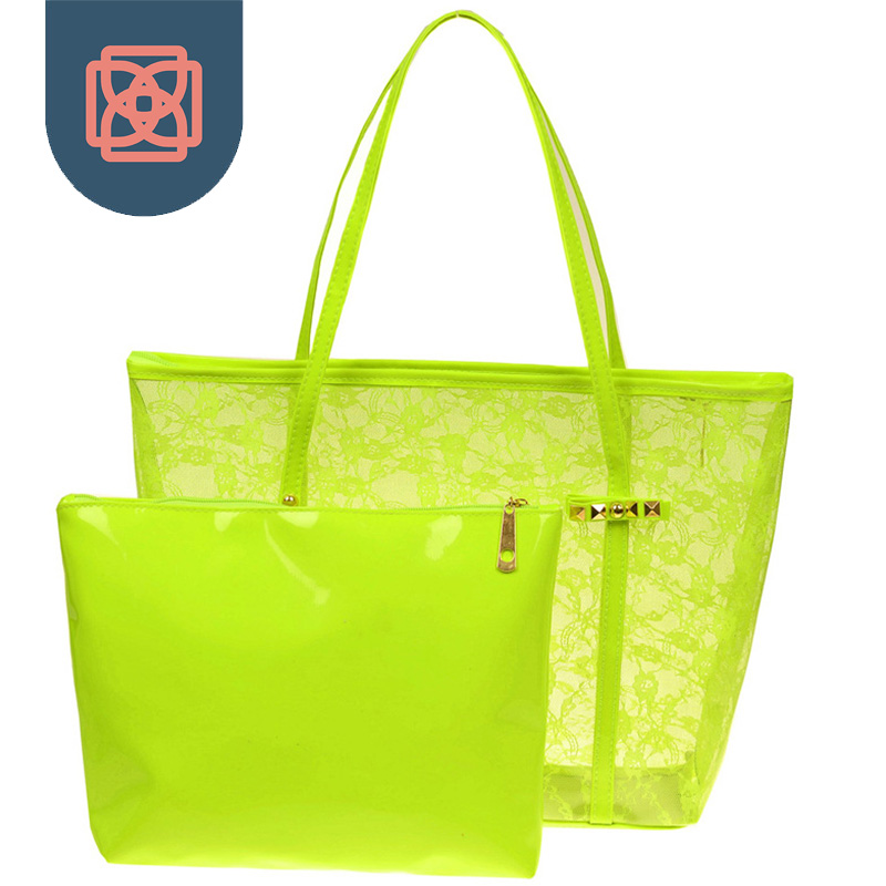ac290f0745 Lady Printing Flower Handbags Designer Tote Bag See through Shoulder Bags  Clear Transparent Jelly bag-in Shoulder Bags from Luggage   Bags on  Aliexpress.com ...