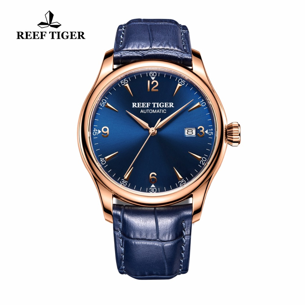 Reef Tiger/RT Classic Dress Watch for Men Rose Gold Automatic All Blue Wrist Watch with Date RGA823G rga r 987 digital watch for men gold