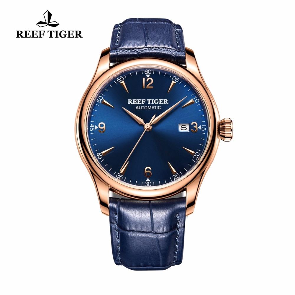 Reef Tiger/RT Classic Dress Watch for Men Rose Gold Automatic All Blue Wrist Watch with Date RGA823G вспышка для фотокамеры 2xyongnuo yn600ex rt yn e3 rt speedlite canon rt st e3 rt 600ex rt 2xyn600ex rt yn e3 rt