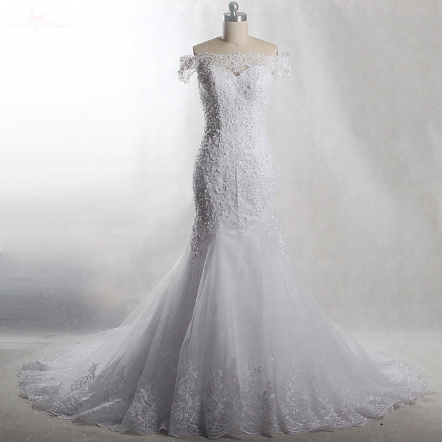 a6a84ce05a8 RSW903 Yiaibridal Real Job Pearls Beading Off The Shoulder Short Sleeves Mermaid  Wedding Dress 2018