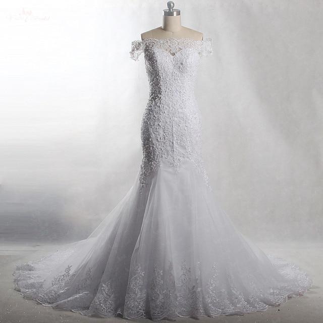 RSW903 Yiaibridal Real Job Pearls Beading Off The Shoulder Short Sleeves  Mermaid Wedding Dress 2018 99bb76b7f352