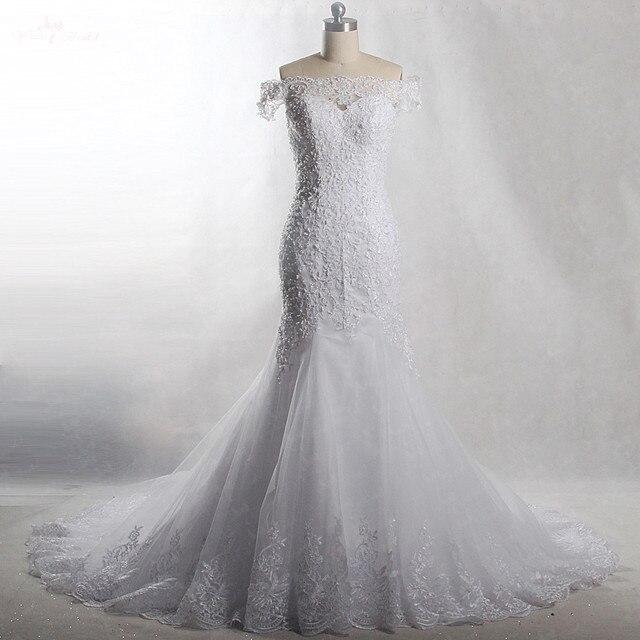 RSW903 Yiaibridal prawdziwa praca perły frezowanie Off The Shoulder krótkie rękawy sukni ślubnej o kroju syreny, 2018