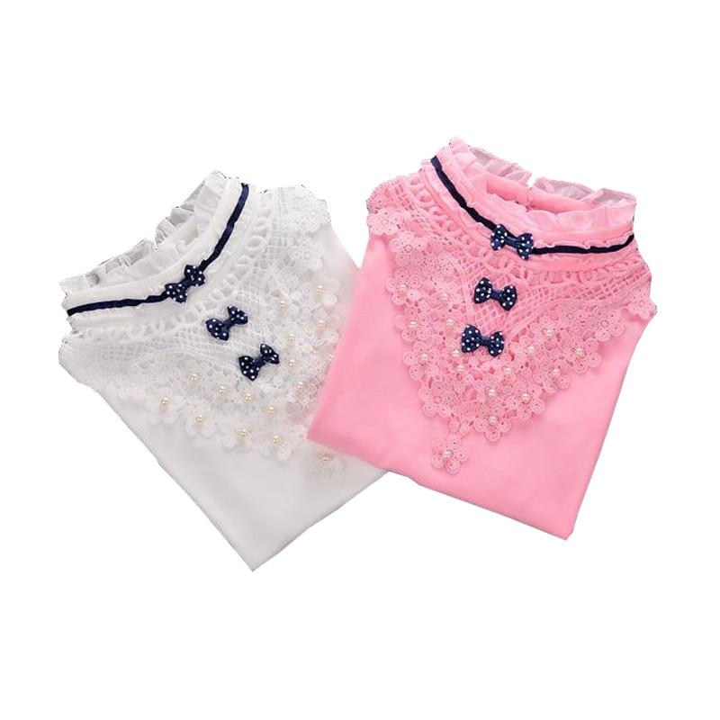 Autumn Winter 2017 Kids Clothes Children Turtleneck Shirt Fashion White Pink Long-sleeved Warm T-shirt Student Girls Lace Tops недорго, оригинальная цена