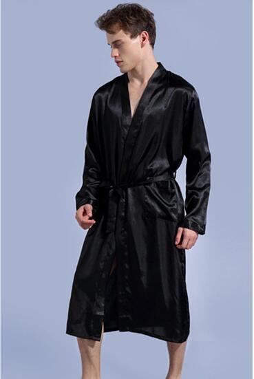 Fdfklak Neue große größe silk bademantel männer langarm frühling herbst roben herren nachtwäsche bad robe mann der bademäntel badjas XXL