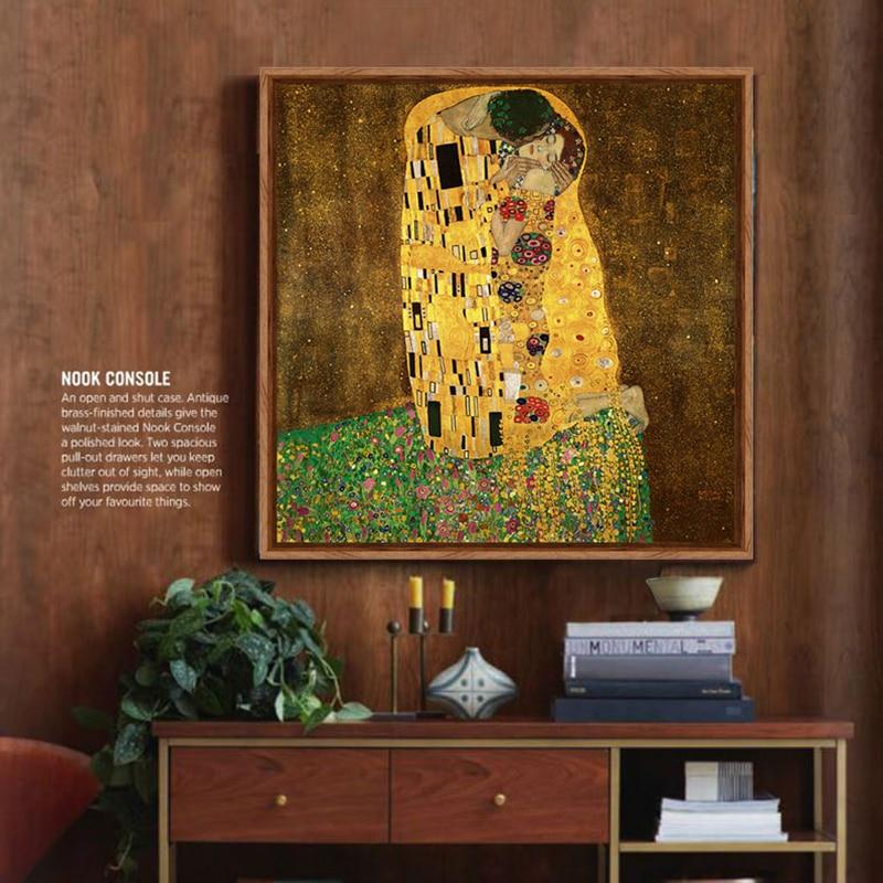 Viena artistas Gustav Klimt funciona el beso póster lienzo pintura ...