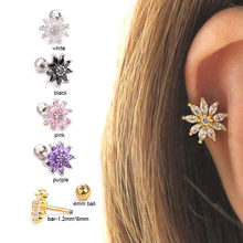 1PC White Pink Purple Black Flower Cz Cartilage Stud Helix Piercing Jewelry Conch Earlobe Tragus Screw Back Earring(China)