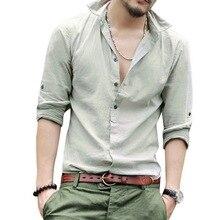 Oeak Мужская рубашка с длинным рукавом Новая мода v-образный вырез сплошной цвет пуговицы Топы повседневные мягкие дышащие льняные рубашки 7 цветов