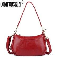 COMFORSKIN Brand Litchi Pattern Premium 100% Cowhide Leather Messenger Bag 2019 New Arrivals Women Handbags Bolsos Mujer