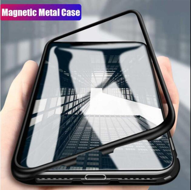 Magnetic Adsorption Metal Case For Samsung Galaxy J4 J6 J8 Plus A7 A9 A8 2018 M10 M20 M30 A70 A10 A30 A50 A20 A60 Glass Cover(China)