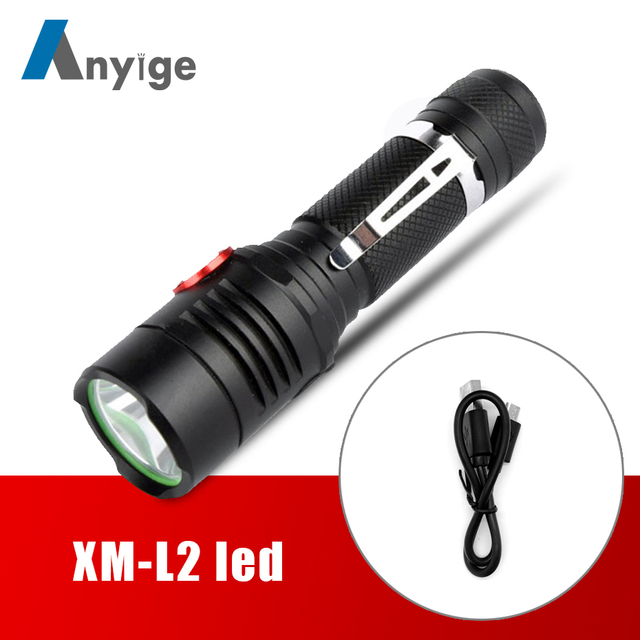 ANYIGE 5000LM XM-L2 led flashlight USB Rechargeable Torch light bike lamp lighting lantern Use 18650 Battery For Camping Fishing