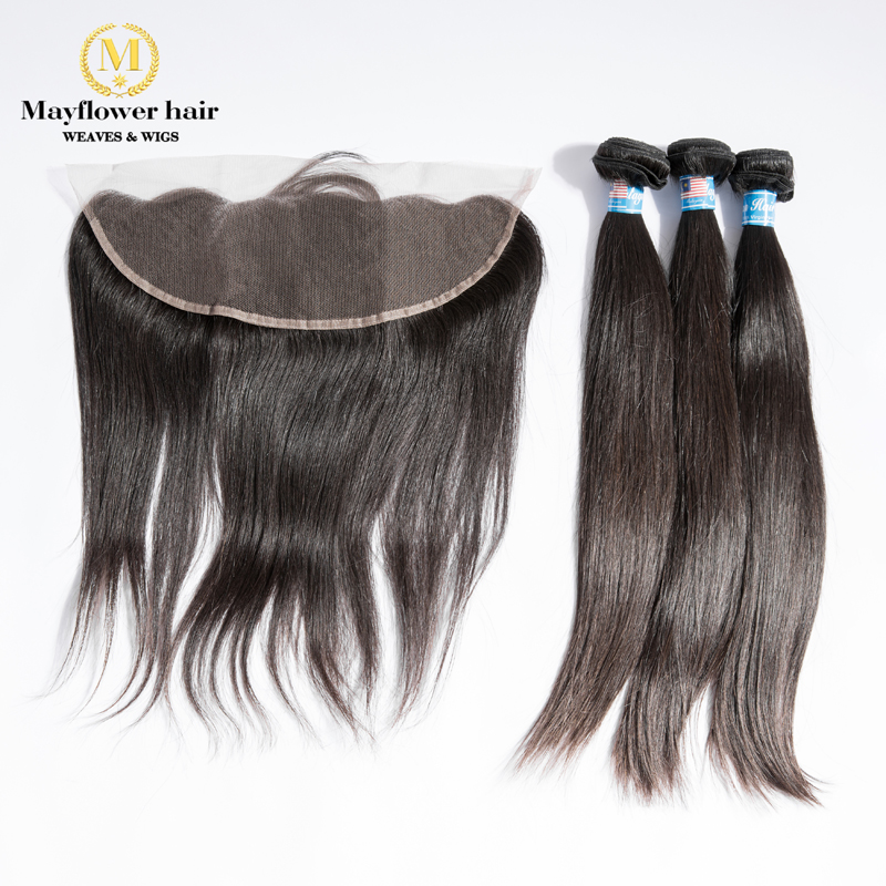 Mayflower Raw Virgin Malaysian Straight Hair 2/3/4 Bundles With 13x4'' Lace Frontal Full Hand Tied With Baby Hair Free Shipping