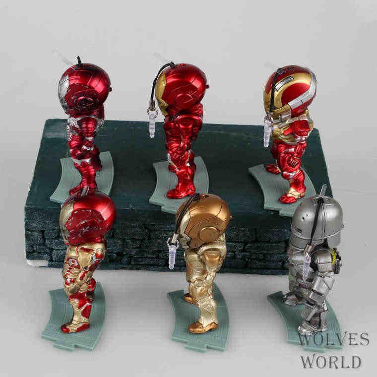 6 шт./компл. Железный человек свет фильм мультфильм аниме фигурка ПВХ Коллекция Модель игрушки brinquedos Для Рождественский подарок с розничной коробкой