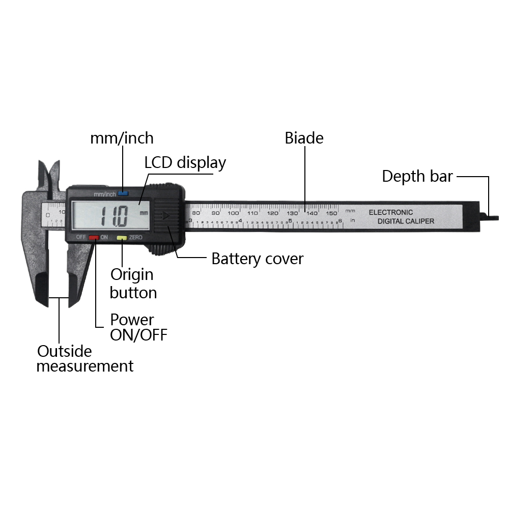 "VERNIER CALIPER 6/""//150mm carbon Steel  4-way Caliper in Padded Storage Box"