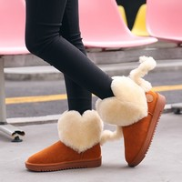 Womens Fur Heart Ankle Boots Tail Decor Warm Winter Snow Thick Sweet Lolita Shoes Suede Leather Girls Black Pink Brown A1342