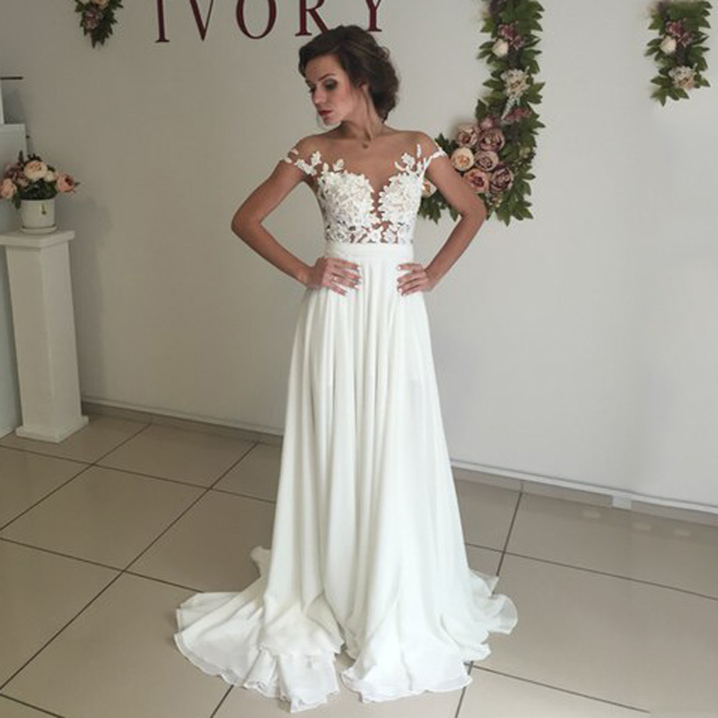 Moda 2017 de Marfil Playa Vestido de Novia Ver A Través de Apliques de Encaje Ca