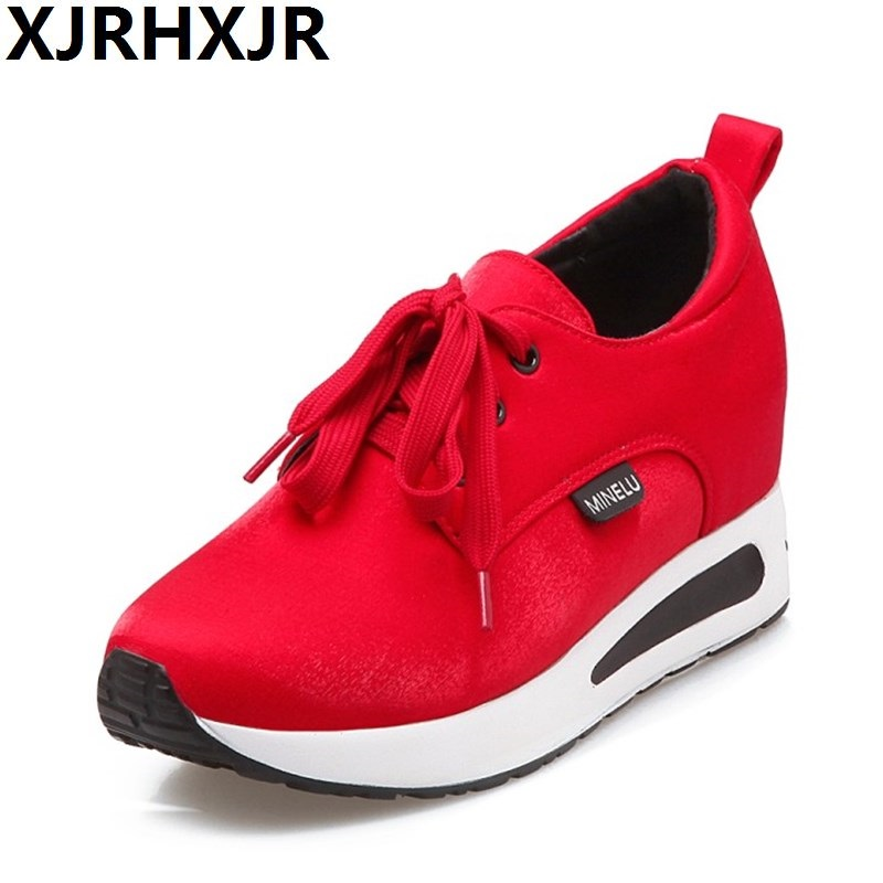 XJEHXJR Spring Casual Shoes Woman Fashion Lace Up Hidden Heels Wedges Platform Shoes Female Height Increasing Comfort Shoes