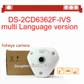 fast free shipping DS-2CD6362F-IVS 6MP 360 Degree panoramic view IP66 fisheye ip camera CCTV security Camera