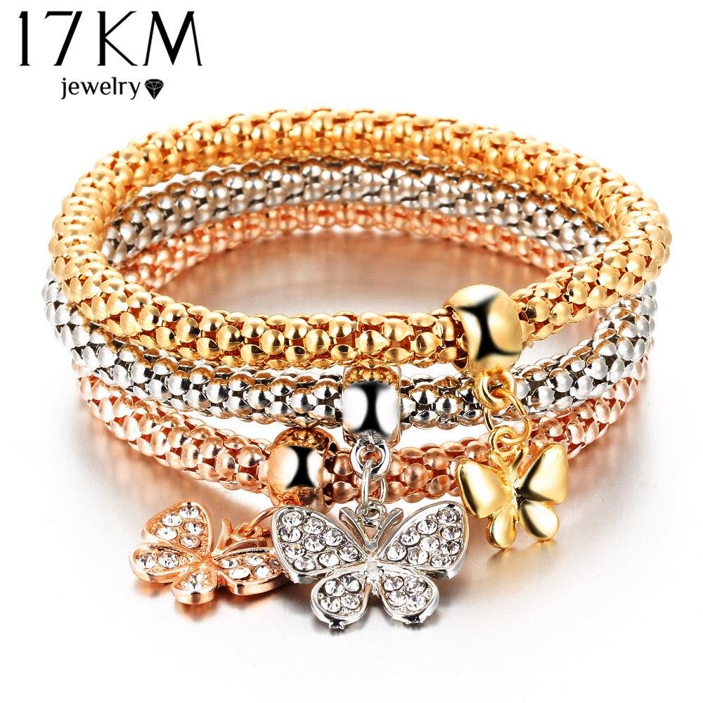 17KM 2016 hOT 3 PCS/Set Crystal Butterful Bracelet & Bangle Elastic Heart Bracelets For Women pulseira masculina Fine Jewelry